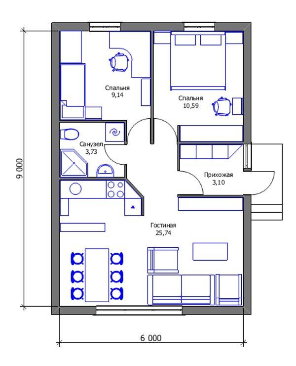 Проект дешёвого дома - план первого этажа