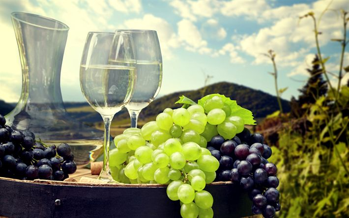 Download wallpapers grapes, white wine, barrel, harvest, wine