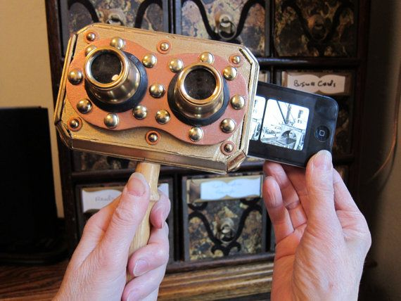 Steampunk stereoscopic viewer for the iphone.
