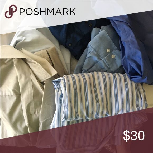 Mens dress shirts 7 shirts all good condition. Blue, stripes, white. Great for a business office or special occasions Geoffrey Beene Shirts Dress Shirts