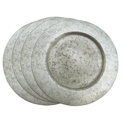 "Galvanized Charger Plates. Galvanized Finish Distressed Metal Charger Plate, 13"", Silver. Tracking price free. Buy today to save tomorrow."