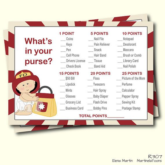 Lovely DIY Firefighter Whatu0027s In Your Purse Baby Shower Game  Red Printable Boy  Babyshower Games  Instant Download  You Print