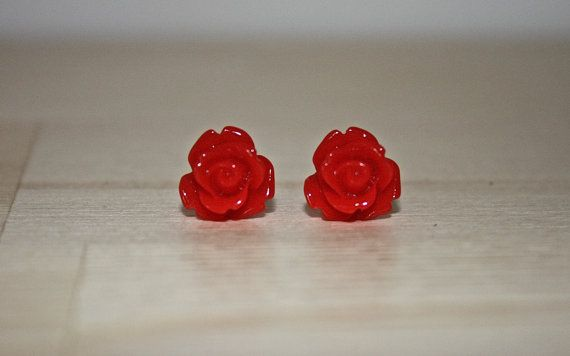 Bold Red 10mm Rose Earrings W/ Surgical by ForTheLoveOfColour