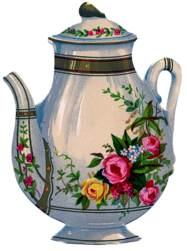 Victorian Graphic - Floral Ironstone Teapot - The Graphics Fairy
