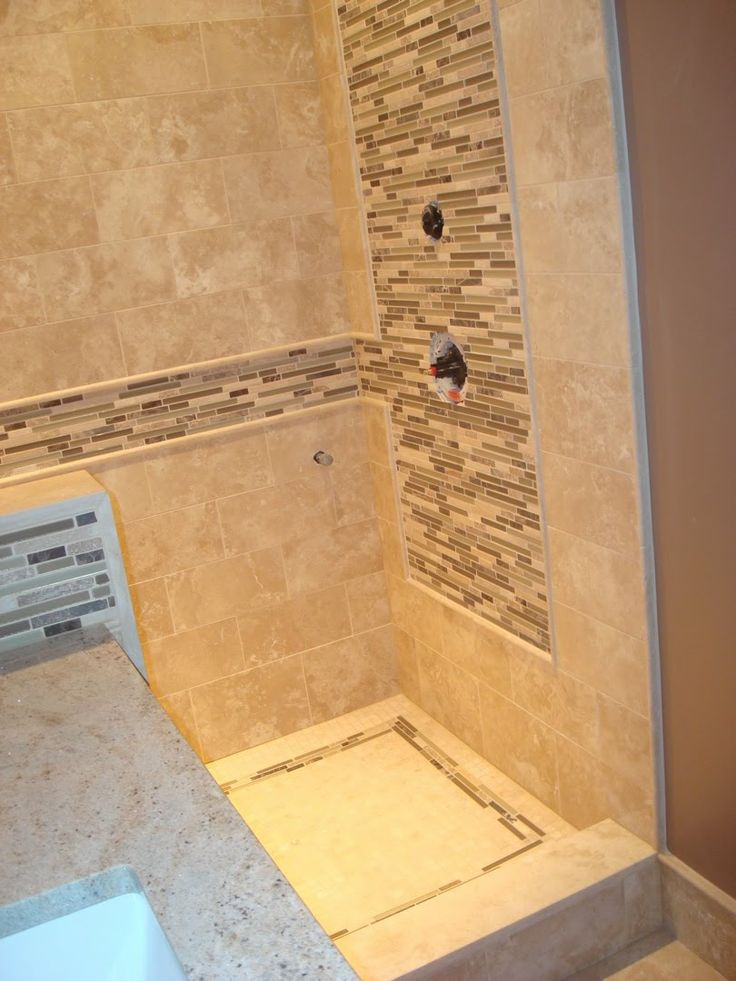 17 best images about small walk in tile shower on for Glass tile ideas for small bathrooms