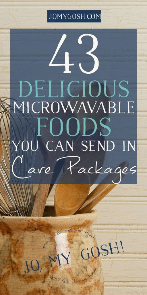 Love this list of microwavable foods (links included so you can find them easily) for care packages.