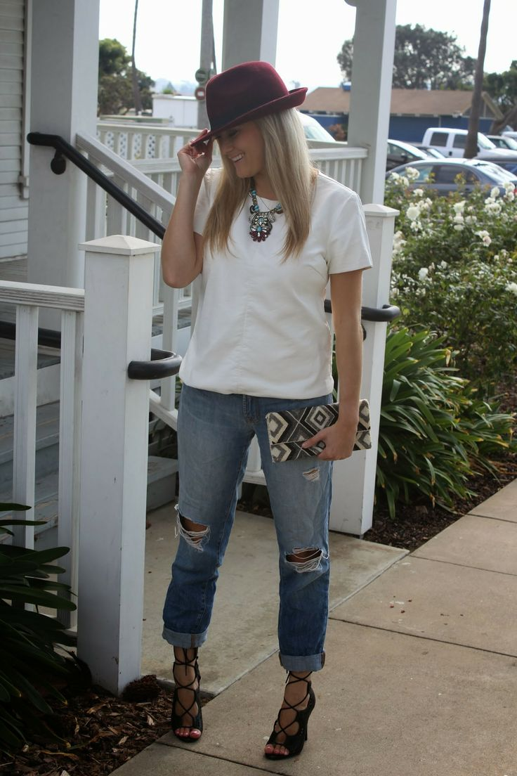 Holiday Trends: Boyfriend Jeans + Leather, #leather, #white, @ja Ha, #boyfriend, @J BRAND, #heels, #laceup, #black, @Charlotte Willner Willner Russe, #statement, #brinabox, #style, #fashion, #fedora, #hat, #burgundy, #outfit, #clutch, #beaded, #marshalls, #projectfab, Holidaytrends, #mixing, #fabric