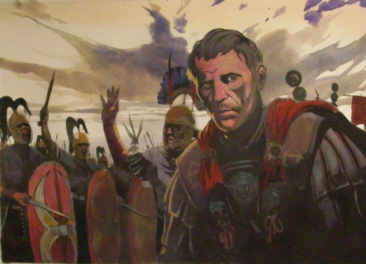 "Julius Caesar inspecting his legions in Gaul. Artwork from the book ""The Gallic War"" by Tarek and Vincent Pompetti"
