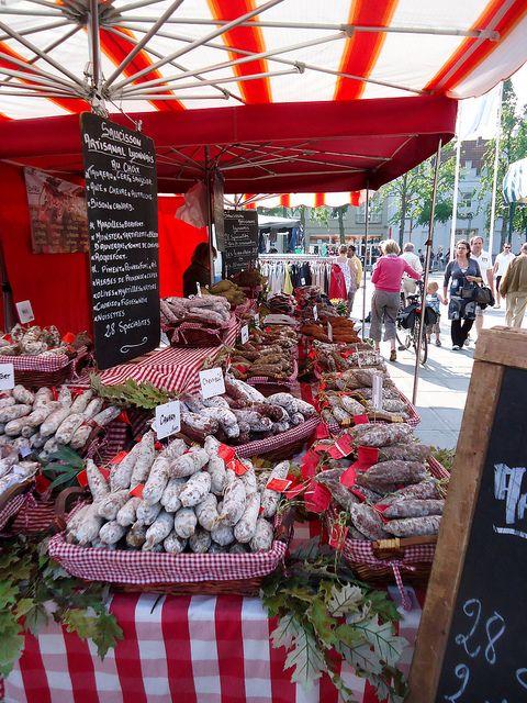 Street market at Bruges, Belgium.