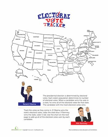 Worksheets: Electoral Map 2012  Kiddos can track the progress of the election as it is revealed to get a better understanding of the electoral process.  Need: red and blue writing utensil.