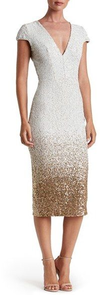 White and Gold Ombre Sequin Dress