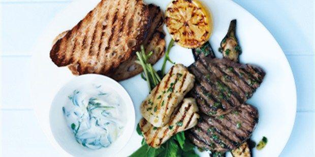 Barbecued Lamb, Eggplant and Haloumi
