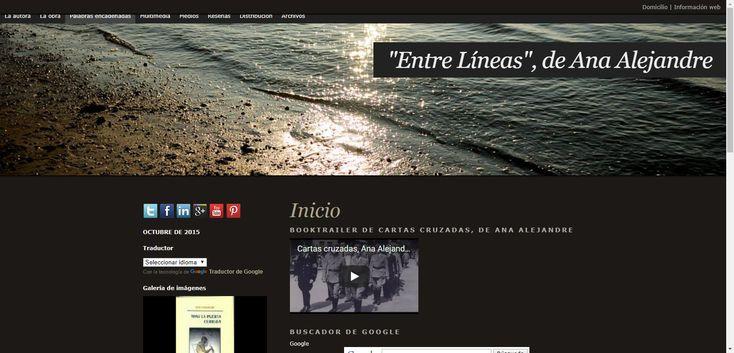 """Página web personal de Ana Alejandre, Entre Líneas"""", edición nº 10, enero d e 2018, con biografía, obras, colaboraciones, reseñas, multimedia, etc.,"""