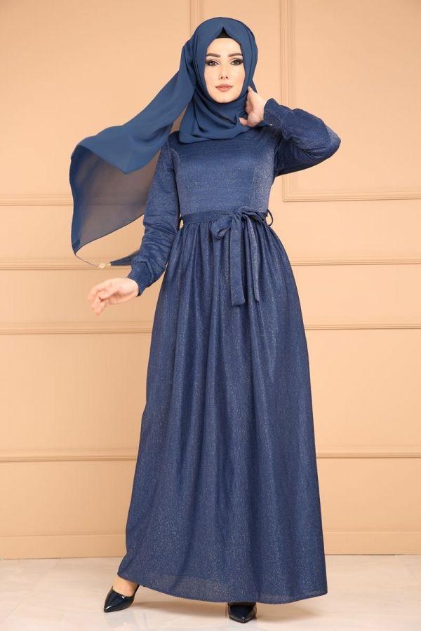 Simli Tesettur Elbise Edf4119 Indigo Robes Pinterest Robe Prom And Clothing