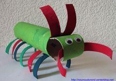 mille-pattes réalisé par Liana 3 ans avec des rouleaux de sopalin