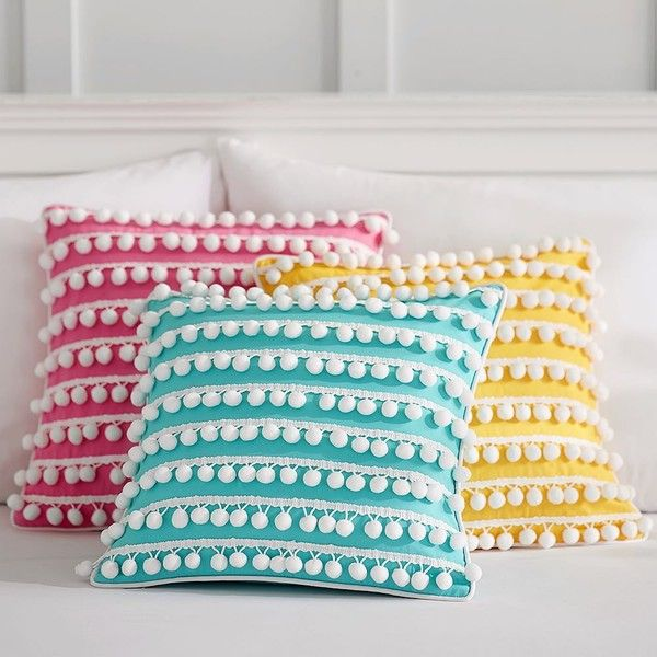 PB Teen Poolside Pom Pom Pillow Cover, 16 X 16, Pink ($28) ❤ liked on Polyvore featuring home, home decor, throw pillows, pink accent pillows, pink throw pillows, textured throw pillows, stripe throw pillows and pbteen