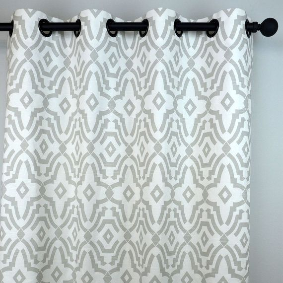 French Light Grey White Chevelle Ikat Quatrefoil Curtains - Grommet - 84 96  108 or 120 Long by 25 or 50 Wide - Optional Blackout Lining - 10 Best Curtains Images On Pinterest Curtain Panels, Drapery And