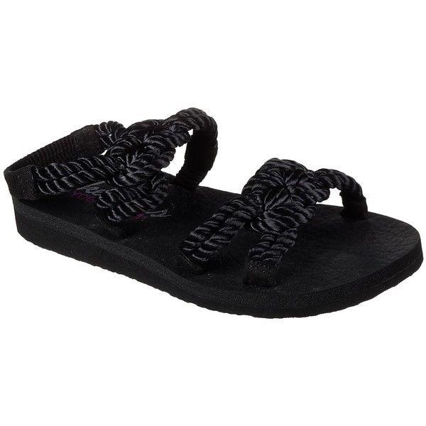 Skechers Women's Meditation - Sailors Delight Black - Skechers (52 CAD) ❤ liked on Polyvore featuring shoes, sandals, black, black ankle strap shoes, yoga shoes, black sandals, woven sandals and yoga sandals