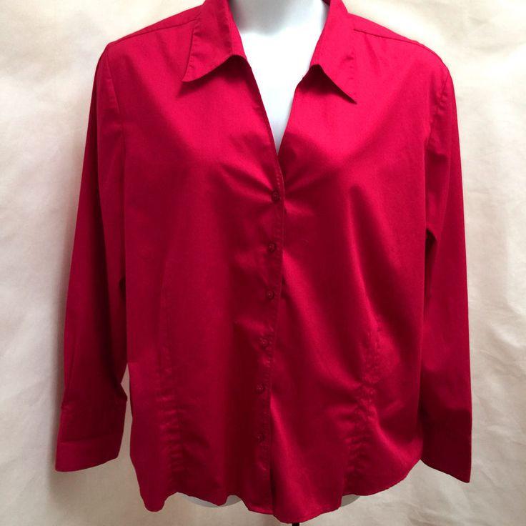 ME Modern Essentials Plus Size 3X Red Button Down French Cuffs  Top #MEModernEssentials #ButtonDownShirt #Career #Top #Shirt #plussize