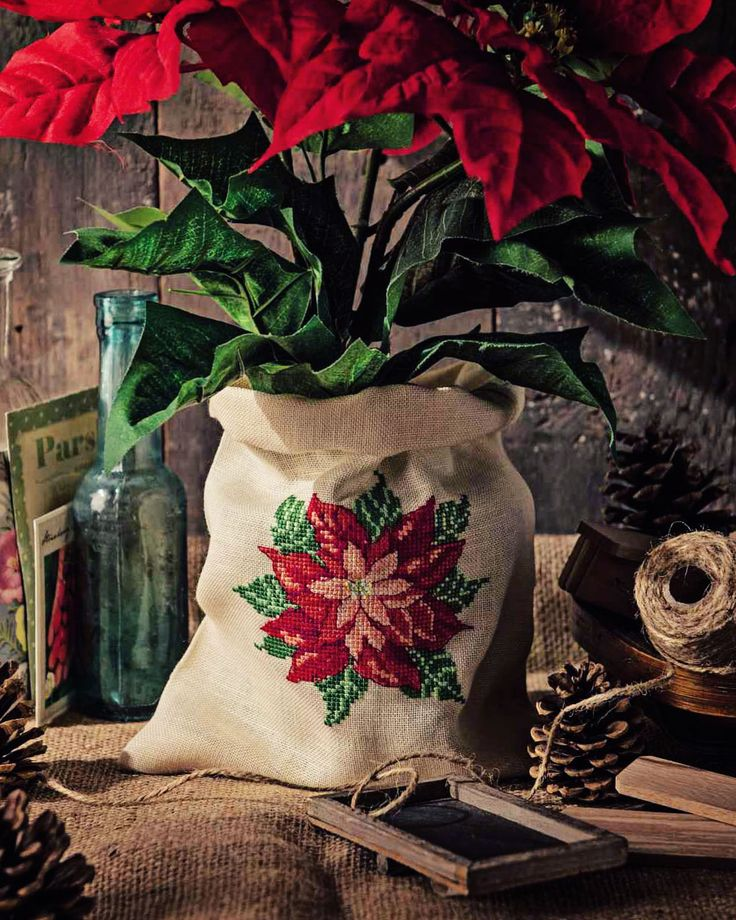 Pretty Poinsettias - Available in Cross Stitcher Collection 295