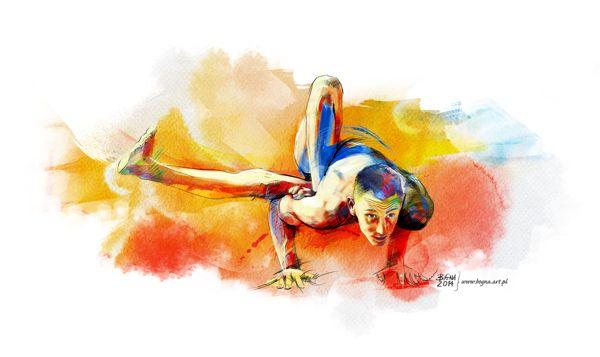 The Art of Yoga by Bogusława Chmielewska, via Behance; www.bogna.art.pl; I love yoga and this is asana which made my teacher of yoga. This asana has two names: Parivrtta Eka Danda Galavasana or Parivrtta Urdhva Dandasana. Yoga Asana presented by Bartosz Furmaniak.