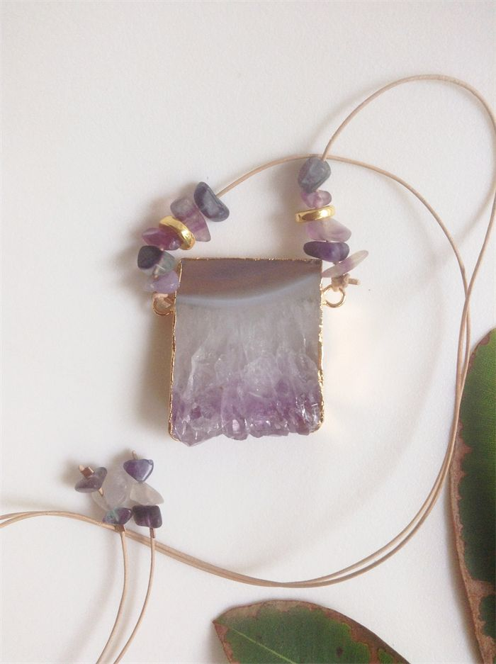 NECKLACE natural amethyst druzy gold plated pendant and gem leather necklace