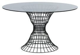 Ursula Andress Table  Contemporary, Industrial, MidCentury  Modern, Glass, Metal, Dining Room Table by Nested Ny