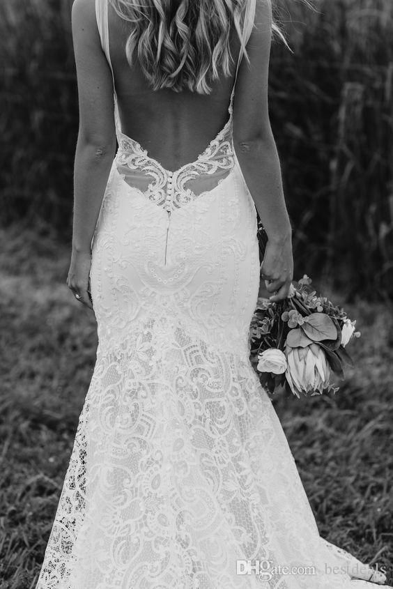 Sexy Spaghetti Straps Bohemian Wedding Dresses with Low Back 2019 New Arrival Full Lace Beach Garden Bridal Gowns