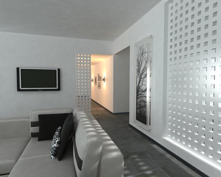 Smart partition made with FamaStyl wooden panel - Un fantástico tabique separador que deja pasar la luz