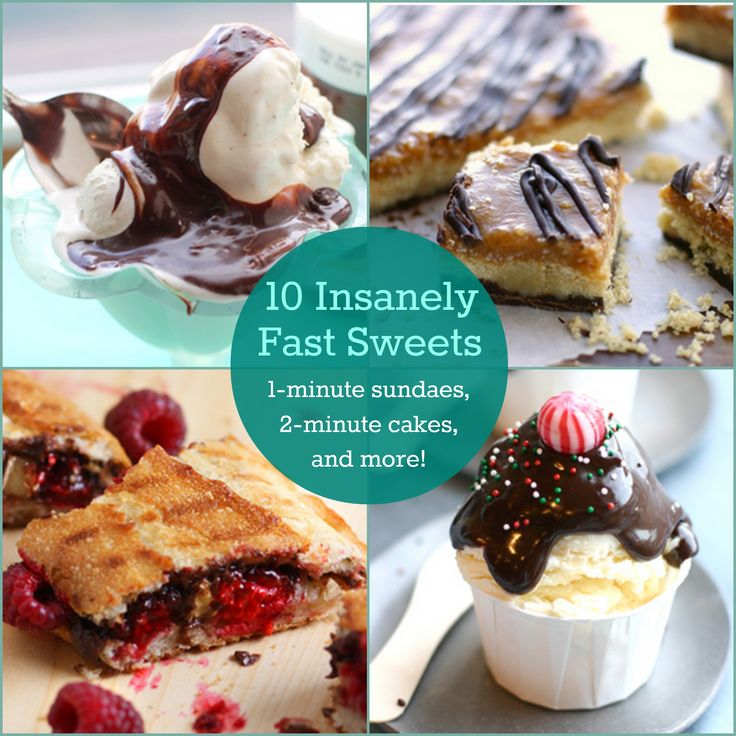 Sometimes everyone needs a sweet treat! 1-minute sundaes, 2-minute cakes, and more!
