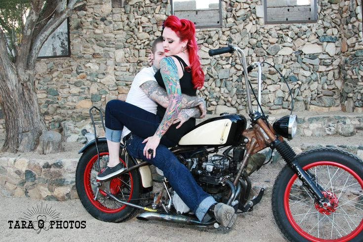 Engagement Retro Tattoo Pin Up Motorcycle Photo Shoot Idea! Love the Colors!