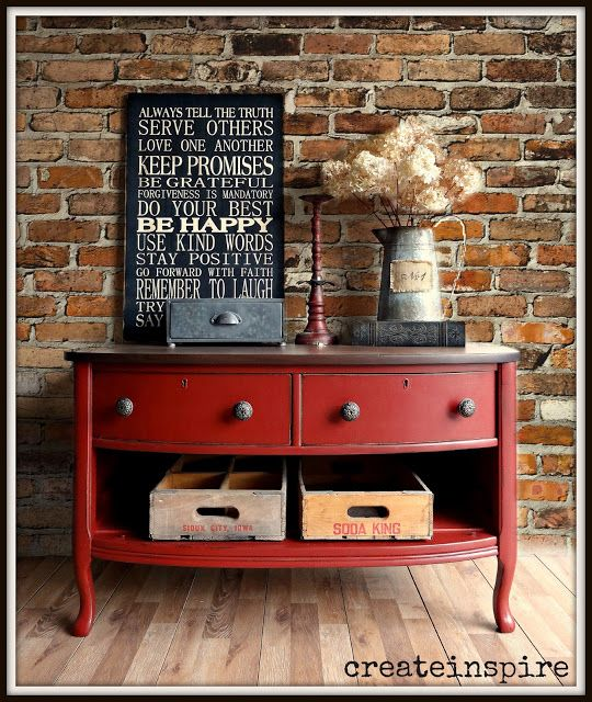 Vintage Lowboy in Tuscan Red.  Been looking for a TV stand in vintage red like this for years! ❤️ Just drill a few holes in the back for wires.