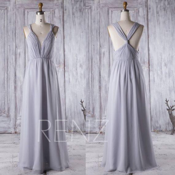 2017 Light Gray Bridesmaid Dress Long Deep V Neck Wedding