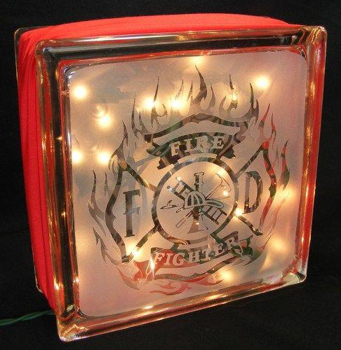 firefighter sandblasted glass block light