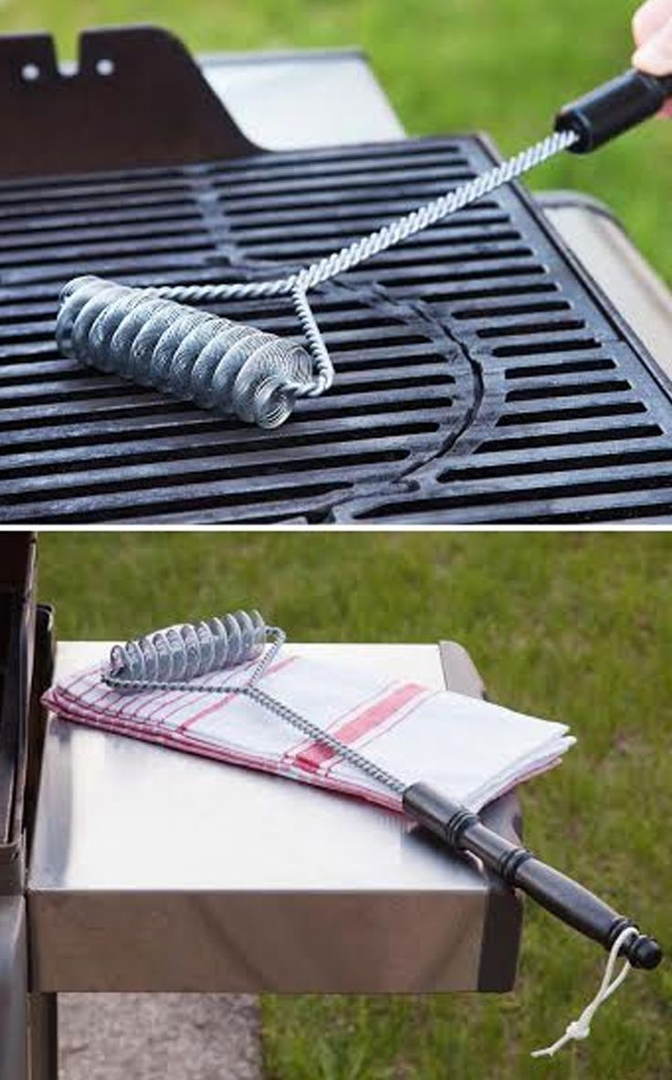 This innovative, bristle-free brush is a smarter way to clean your grill. The double helix design has two continuous springs to get the grease and food particles off the grill grates. No rough edges to cut you, and no need to worry about metal bristles falling out and getting in your food.