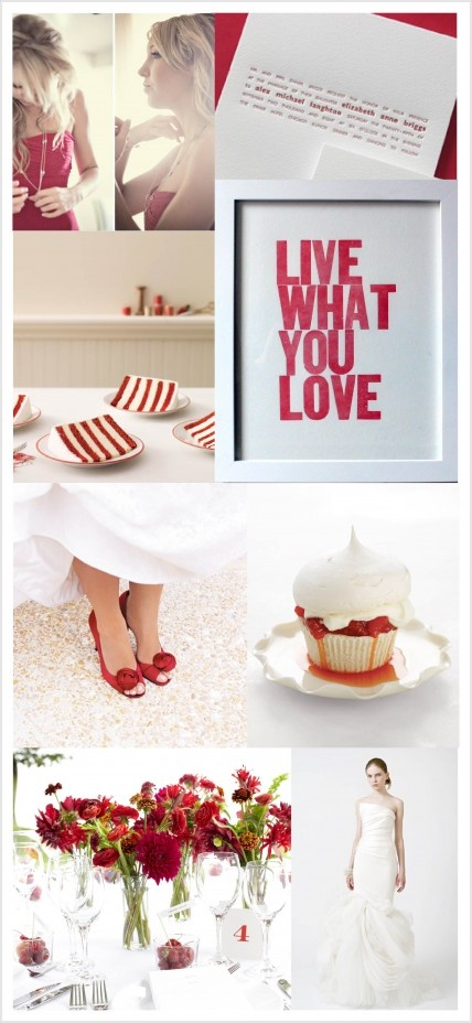 Paint the town red with a crimson and white palette. So chic!: Red And White, Badger Red, Pinspiration Boards, Brides, Red Pink Peach, Red White, Red Color Love, Red 3