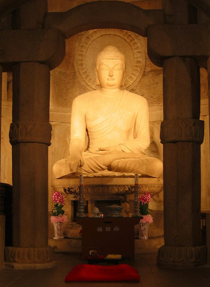 Buddha, Seokguram Grotto, Gyeongju by Richardfabi -- The 3.45 metre high seated Buddha within the Seokguram Grotto, near the Bulguksa Temple of Gyeongju, South Korea. Silla period, 8th century CE. The figure sits beneath a stone hemispherical dome.