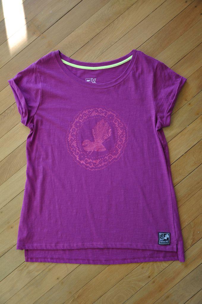 Ladies Purple Slub Fantail Tee Limited Edition