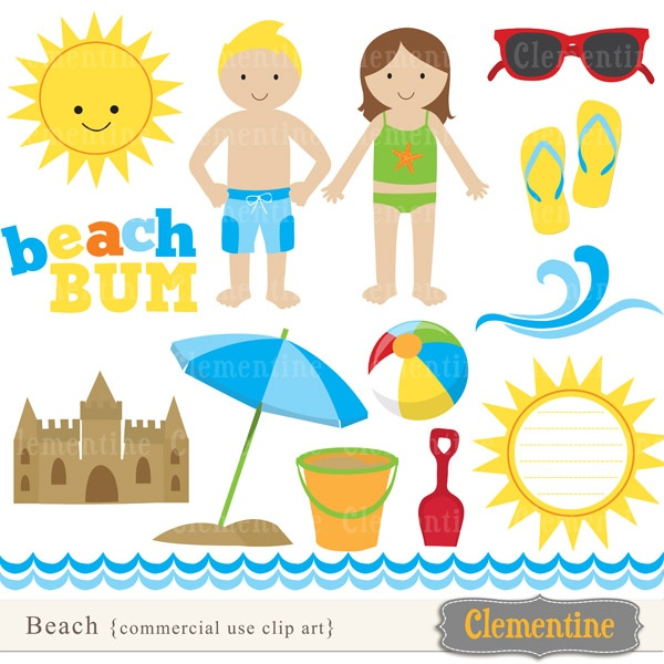 Beach clip art,  perfect for use in cards or invitations.     Clip art  measures approximately 6 inches high (except one 12 inch wave border).   Watermark on  preview  only.