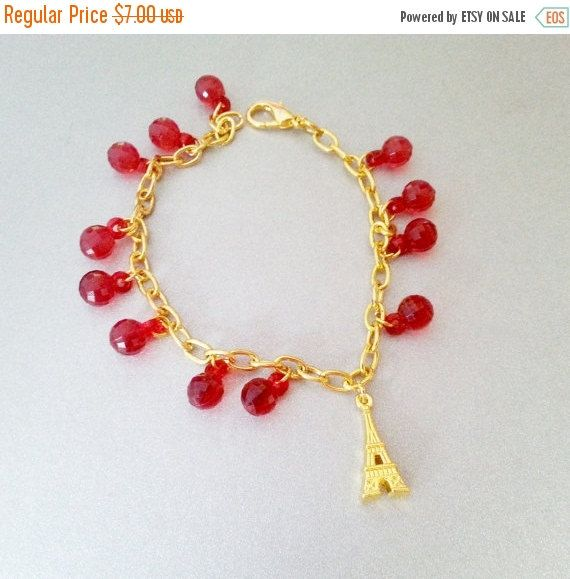 XMAS SALE black friday Beautiful gold and red charm bracelet Eiffel tower pendant unique gift idea for her party jewelry carnival
