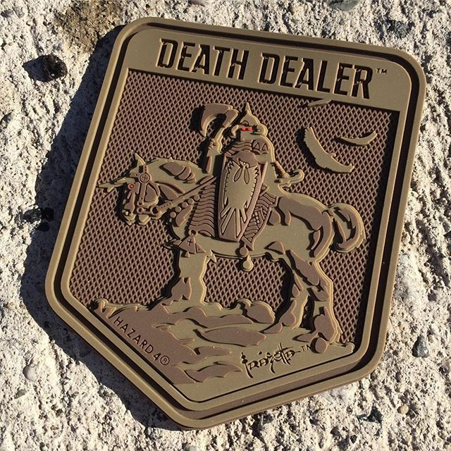 New Death Dealer Frank Frazetta licensed rubber 3-d morale patch protos are here! Do you guys vote for or against the red eyes? Coming soon in multi colors. #frankfrazetta #frazetta #deathdealer #hazard4