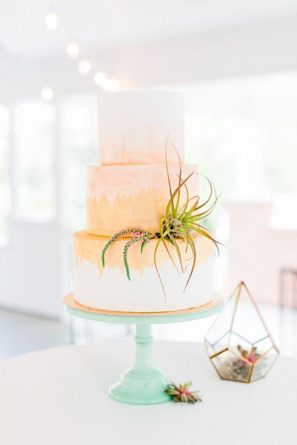 Painted wedding cake    #wedding #weddingideas #aislesociety #weddingflowers