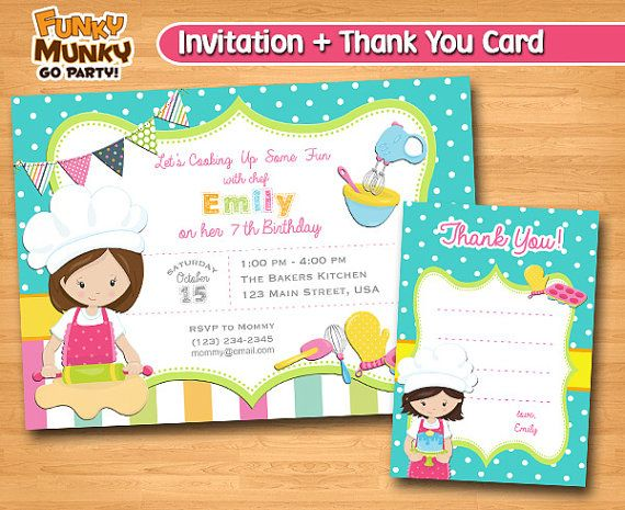 Baking Birthday Invitation Cooking Birthday by funkymunkygoparty