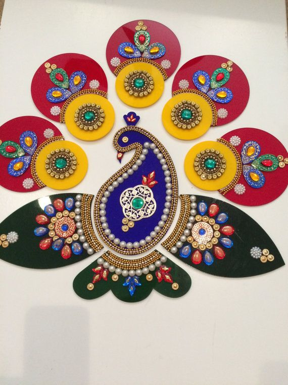 Peacock Rangoli with antique work of pearl and by FestiveDecors