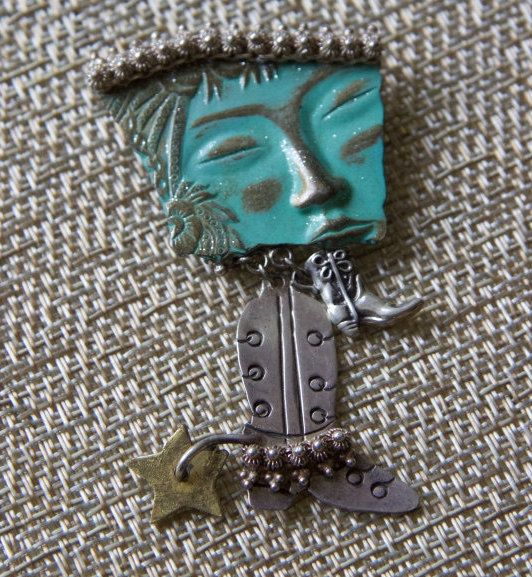 Sterling silver turquoise horse rider rodeo native american pin or brooch with two cowboy boots and spur one of a kind by TexicalGalsVintiques on Etsy