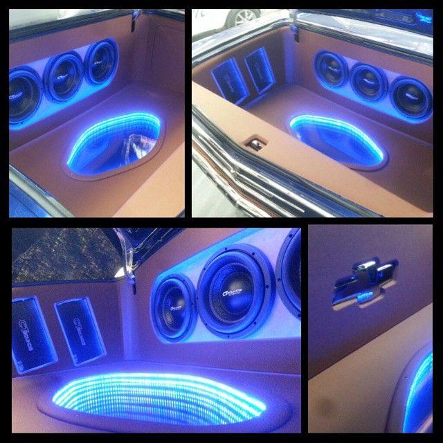 66 chevelle custom car stereo trunk install. subwoofers amps. leds fiberglass