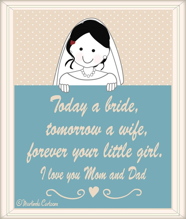 Free wedding printable, cute gift for the parents of the bride. Martinela Cartoons