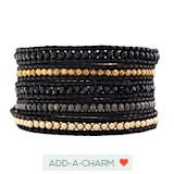 The Vintage Gold Pearl Mix Wrap Bracelet on Natural Black Leather by Jewelry Designer Chan Luu - I LOVE them all!!!!!