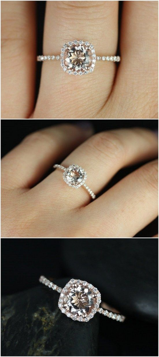 Barra 6mm 14kt Rose Gold Morganite and Diamonds Cushion Halo Engagement Ring / http://www.deerpearlflowers.com/inexpensive-engagement-rings-under-1000/