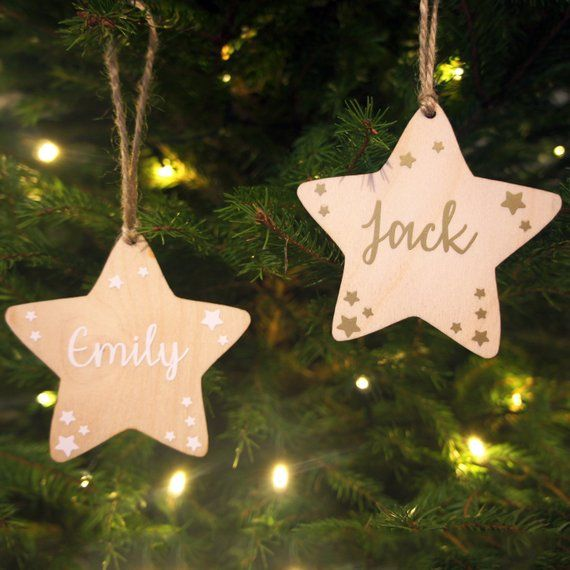 Christmas Tree Decorations Names.Personalised Name Christmas Star Tree Decoration Hanging